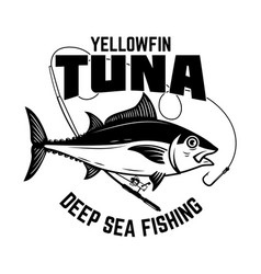 tuna fishing yellowfin tuna and fishing rod vector image