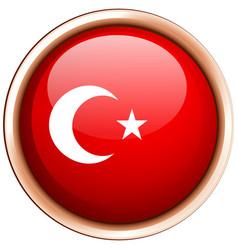 Turkey flag on round badge vector