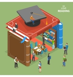 We love reading isometric flat concept vector