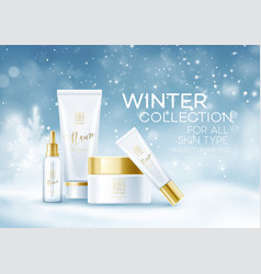 winter cosmetics background template cosmetic vector image