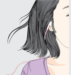Women are listening to music in one ear vector