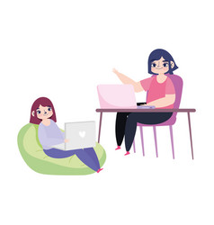 working remotely young women sitting desk and vector image