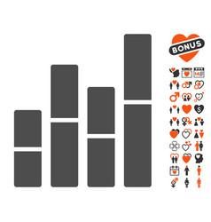 bar charts icon with love bonus vector image vector image