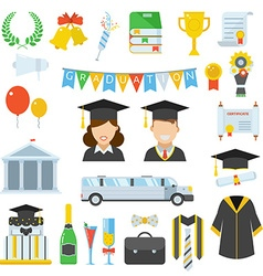 Graduation Day Certification Ceremony Icons vector image vector image