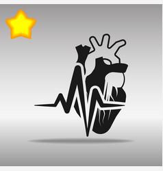 heartbeat heart black icon button logo symbol vector image
