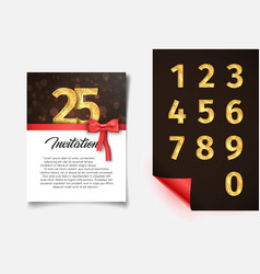 invitation card template with numbers collection vector image