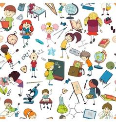 Kids school sketch seamless pattern vector image vector image