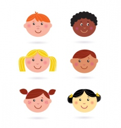 multicultural kids' heads vector image vector image