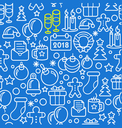 seamless new year christmas pattern 2018 vector image