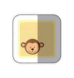 sticker colorful greeting card with picture monkey vector image