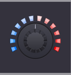 Black round knob button with red and blue scale vector
