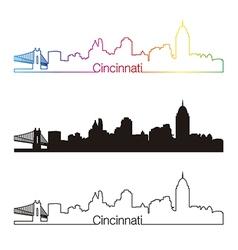 Cincinnati skyline linear style with rainbow vector image vector image