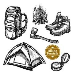 Tourism Camping Hiking Sketch Set vector image vector image