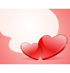 two red shiny glass hearts vector image vector image
