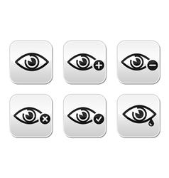 Eye sight buttons set - vector image