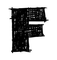 F - hand drawn character sketch font vector image vector image