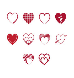 flat color heart icon set vector image vector image
