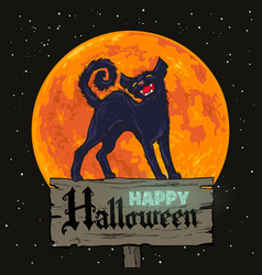 Halloween black cat on full moon background vector