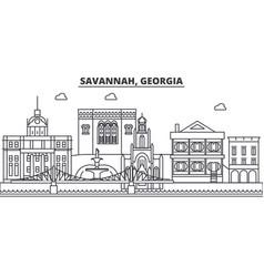 Savannah georgia architecture line skyline vector