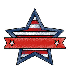 star with united states of america flag vector image