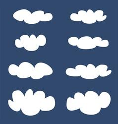 White clouds on dark blue sky background set vector image vector image