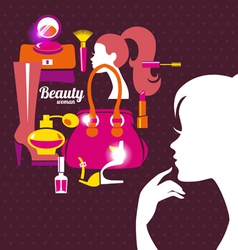Beautiful woman silhouette with fashion icons vector image vector image