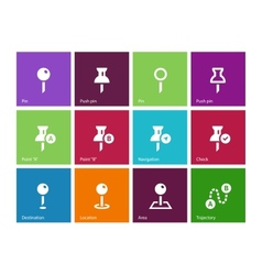 Mapping Pin icons on color background vector image