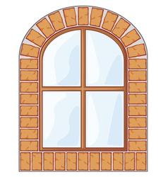 wooden window on brick wall vector image vector image