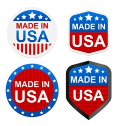 4 stickers - made in usa vector