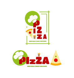 a set of logo on the theme of pizza vector image