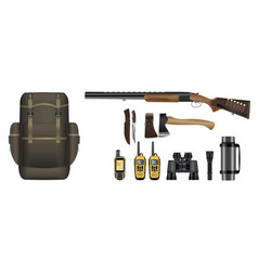 a set of realistic hunting equipment kit vector image vector image