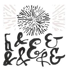 Ampersand set and a sunburst vector image