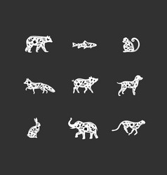 Animals floral graphic silhouettes black vector