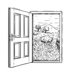 Artistic drawing of closed door to beautiful vector