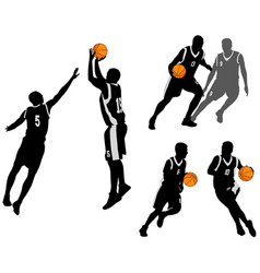 Basketball players silhouettes collection 2 vector