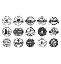 beer badges beers pub lager bottle and hipster vector image