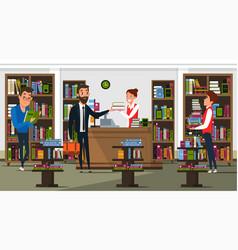 Bookstore interior flat vector