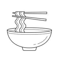bowl of noodles line icon vector image