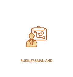 Businessman and tactics concept 2 colored icon vector