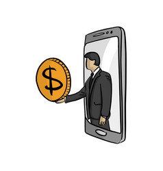 Businessman in big mobile phone giving a big vector