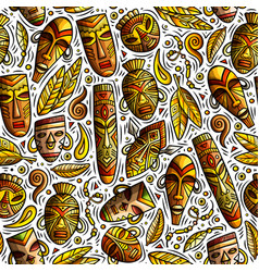 Cartoon cute hand drawn african seamless pattern vector