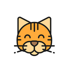 Cat pet animal flat color icon vector