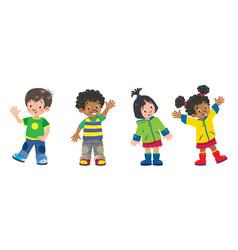 Children set of 4 kids smiling boys and girls vector