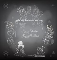 Christmas Santa Elf design shalk black board vector