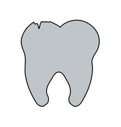 color image cartoon tooth with cracks vector image