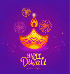 cute banner for happy diwali festival lights vector image
