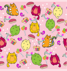 cute cat seamless pattern with flower and cup vector image