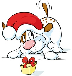 Cute dog with santa hat and gift vector image