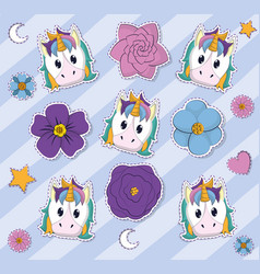 Cute unicorns and flowers background vector