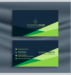 dark business card with green geometric shape vector image